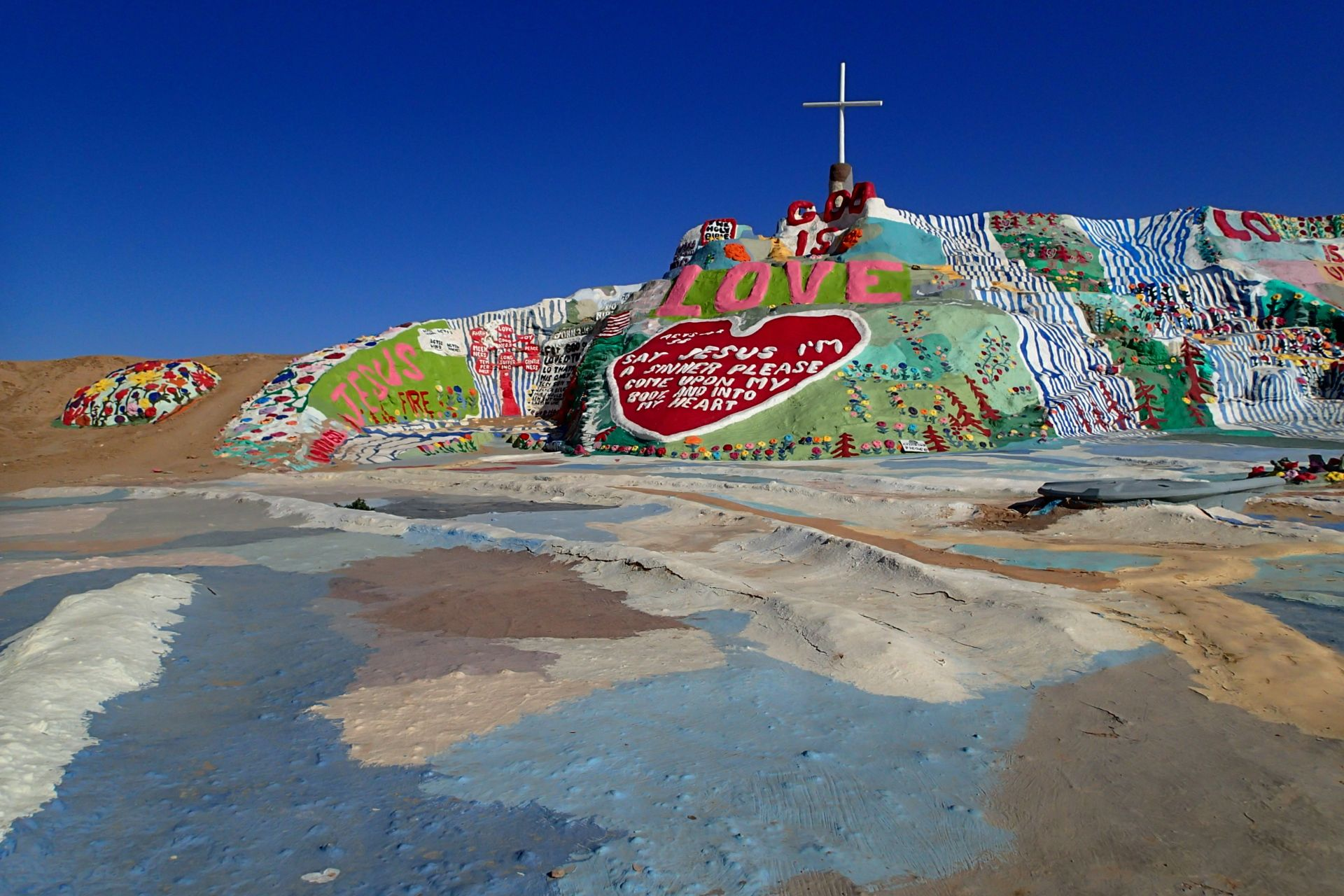 Salvation Mountain is an art project in hte middle of California's Sonoran Desert.